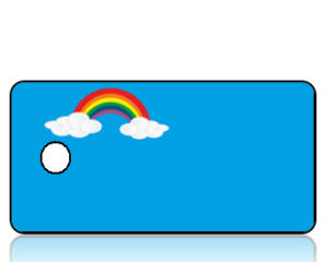 Create Design Rainbow with Clouds Blue Background Key Tag
