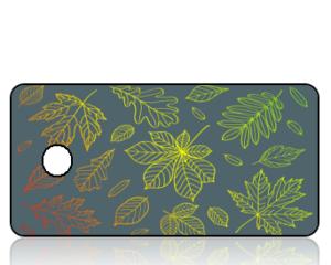 Create Design Fall Leaves Blue Background Key Tag