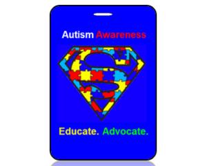 Autism Awareness Puzzle Piece Shield Bag Tag