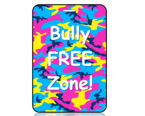 Bully Free Zone Bright Camouflage Bag Tag