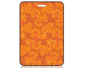 Create Design Orange Yellow Modern Flowers Bag Tag