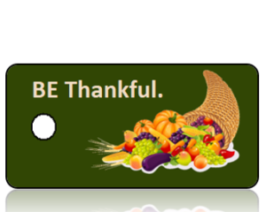 BE Thankful Cornucopia Green Background Holiday Tag