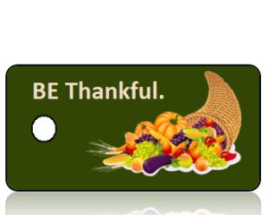BE Thankful Cornucopia Green Background Holiday Tag