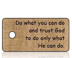 Do What You Can Do - Tan Burlap Inspirational Key Tag