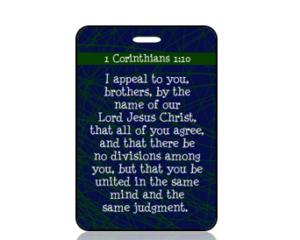 1 Corinthians 1 vs 10 ESV Blue Scripture Bag Tag