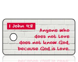 1 John 4 vs 8 ESV White Brick Scripture Tag