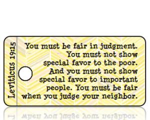 Leviticus 19 vs 15 ESV Yellow Gray Feather Scripture Tag