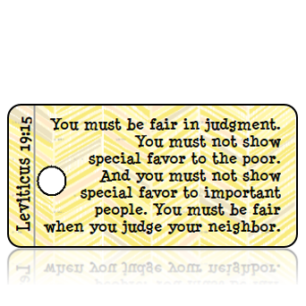 Leviticus 19 vs 15 ESV Yellow Gray Feather Scripture Tag