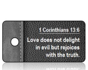 1 Corinthians 13 vs 6 NIV Black Gray Leather Scripture Tag