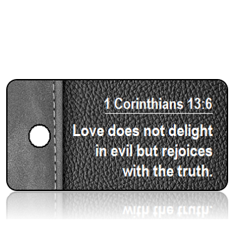 1 Corinthians 13 vs 6 NIV Black Gray Leather Scripture Tag