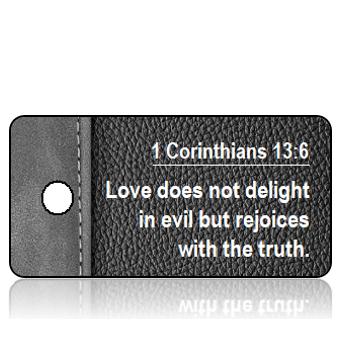 ScriptureTagD174 - NIV - 1 Corinthians 13 vs 6 - Black Gray Leather Binder