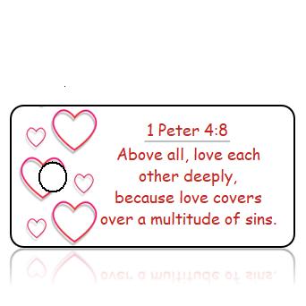 ScriptureTagD175 - NIV - 1 Peter 4 vs 8 - Red Heart Border