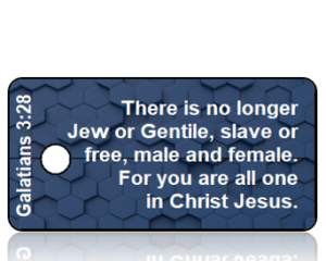 Galatians 3 vs 28 NLT Navy Blue GeoGrid Scripture Tag