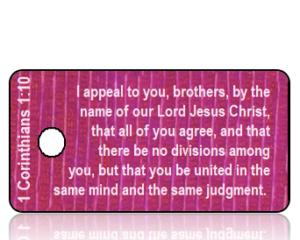 1 Corinthians 1 vs 10 ESV Purple Mauve Background Scripture Tag