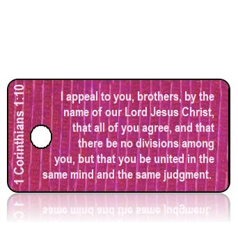 ScriptureTagD178 - ESV - 1 Corinthians 1 vs 10 - Purple Mauve Textured Background