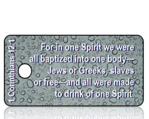 1 Corinthians 12 vs 13 ESV Blue Rain Drops Scripture Tag