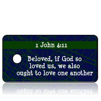 ScriptureTagD181 - ESV - 1 John 4 vs 11 - Blue Background Green Webbing