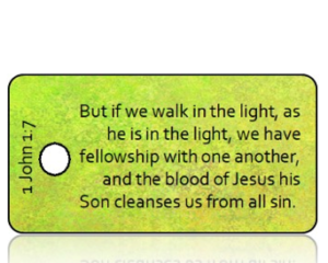 1 John 1 vs 7 ESV Vintage Green Background Scripture Tag