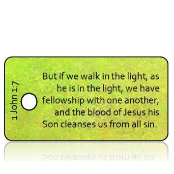ScriptureTagD184 - ESV - 1 John 1 vs 7 - Vintage Green Background