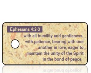 Ephesians 4 vs 2-3 ESV Tan Speckled Paper Scripture Tag