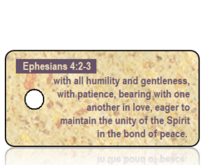 Ephesians 4 vs 2-3 ESV Tan Speckled Paper Scripture Tag