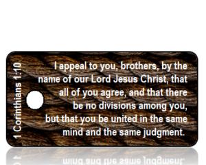 1 Corinthians 1 vs 10 ESV Brown Ropes Scripture Tag