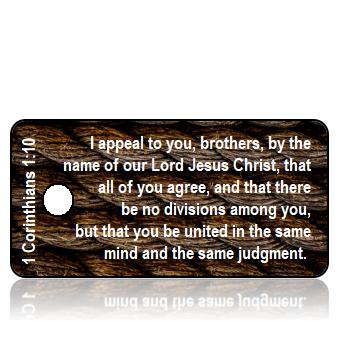 ScriptureTagD189 - ESV - 1 Corinthians 1 vs 10 - Brown Ropes