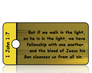1 John 1 vs 7 ESV Gold Black Foil Background Scripture Tag