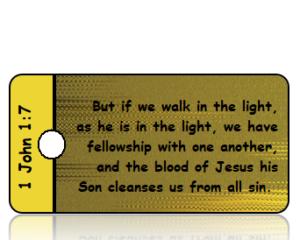 1 John 1 vs 7 ESV Gold Black Foil Background Scripture Tag