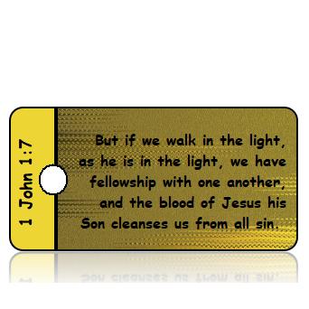 ScriptureTagD190 - ESV - 1 John 1 vs 7 - Gold Black Foil Background