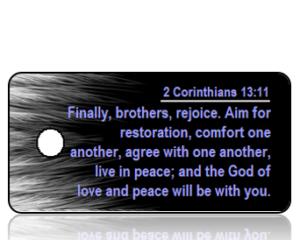 2 Corinthians 13 vs 11 ESV White Feather Border Scripture Tag