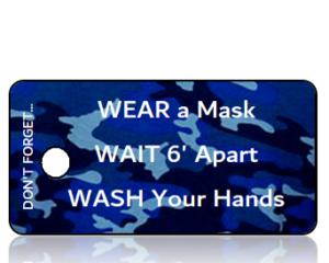 3 Ws - Wear Wait Wash Blue Camo Awareness Key Tag