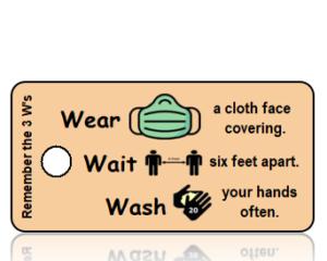 3 Ws - Wear Wait Wash Green Mask Vertical Awareness Key Tag