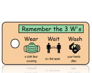 3 Ws - Wear Wait Wash Green Mask Awareness Key Tag