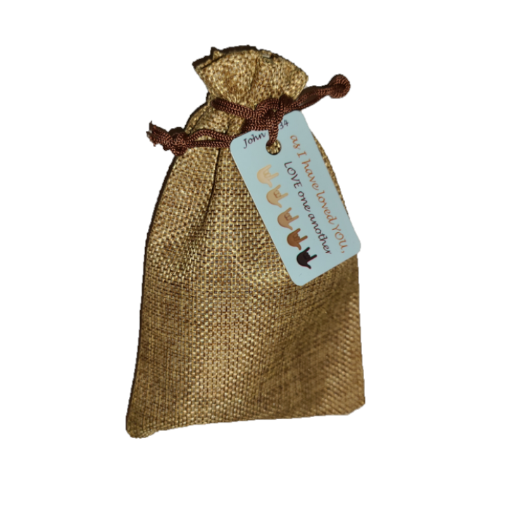 Hand Sanitizer 1 oz and Share IT Tags in Burlap bag