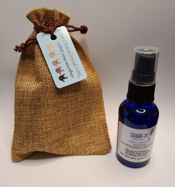 Burlap Gift Bag & 1 Oz Hand Sanitizer