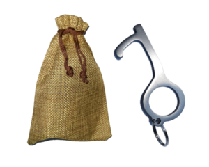 Stainless Steel Germ Key in Burlap Gift Bag