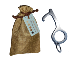 Stainless Steel Germ Key with 3 Key Tags in Burlap Gift Bag