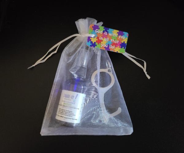 Organza Bag with Hand Sanitizer, Germ Key and Key Tag