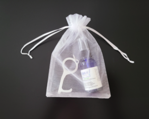 Hand Sanitizer 1 Oz with Stainless Steel Germ Key in Organza Gift Bag