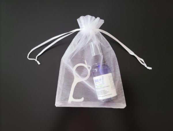 Organza Bag with Hand Sanitizer and Germ Key no Key Tag